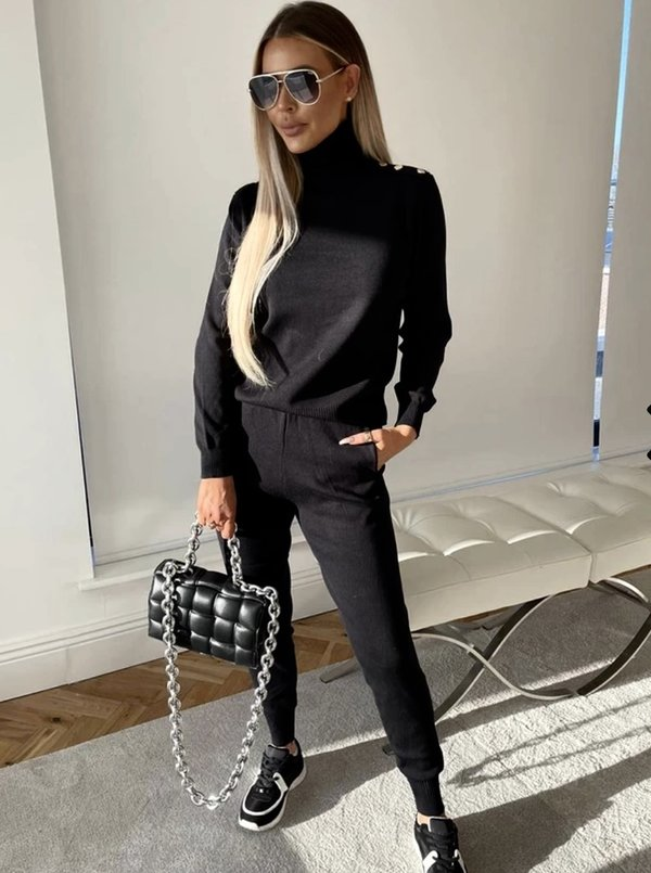 Shoulder button tracksuit black