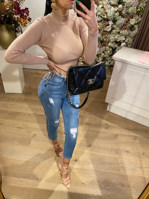 Mom ripped jeans blue