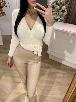 fluffy wrap top offwhite