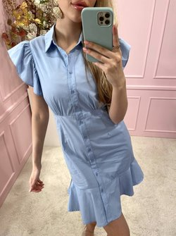 Ruched blouse dress blue