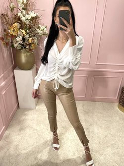 Beige leather pants