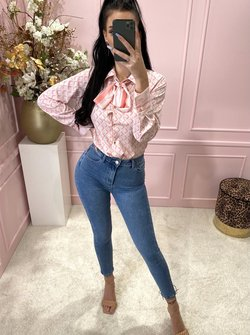 Printed Bow blouse pink