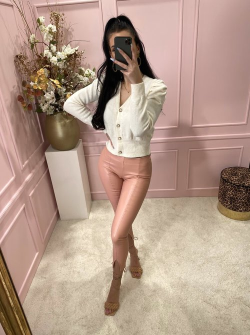 Rose leather pants