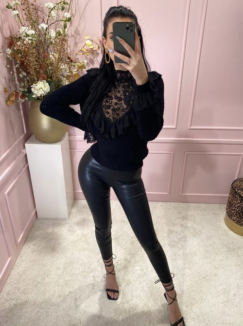 Wet Looking Legging Black