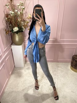 Silky knotted blouse blue