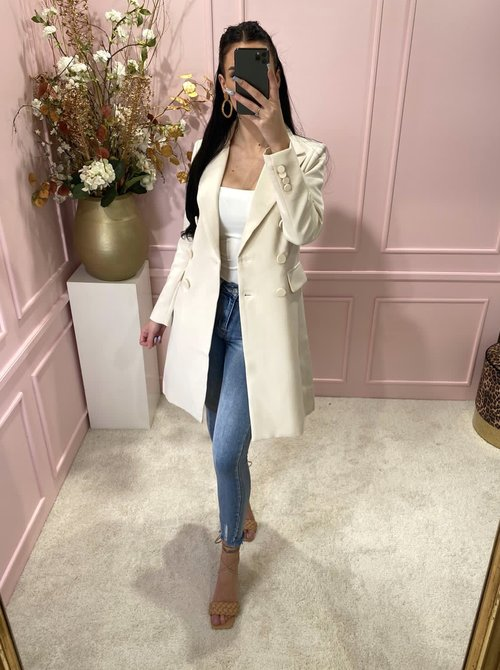 Button trenchcoat creme