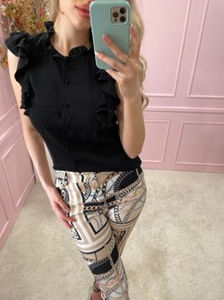 Classy ruched blouse black