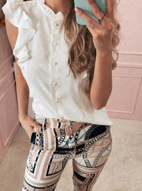 Classy ruched blouse white