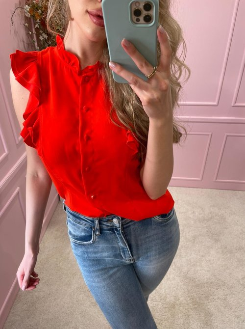 Classy ruched blouse red