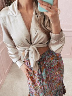 Silky knotted blouse champagne