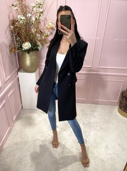 Button trenchcoat black