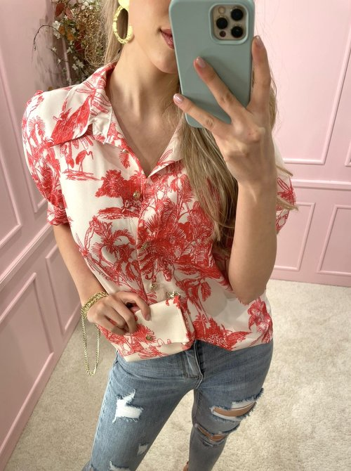 blouse red with bag