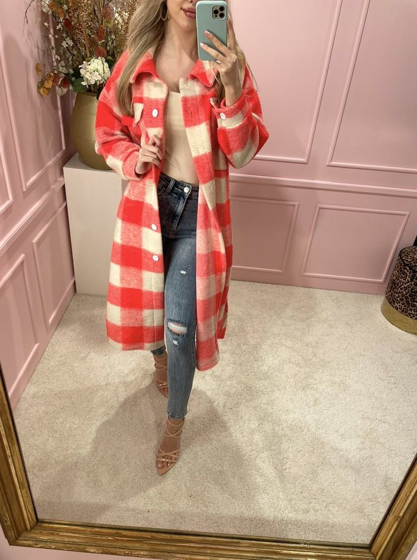 Flannel Coat Long Coral