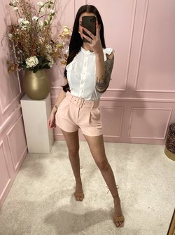 Belted shorts baby pink