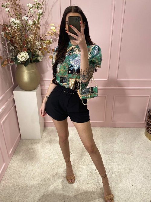 Printed blouse green with bag