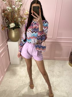 Zigzag  Blouse Lila Vibe with bag