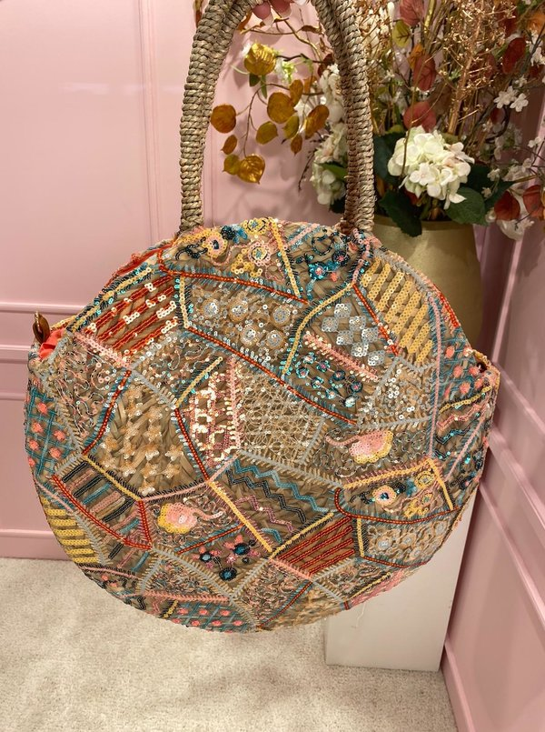 Colorful Round & beaded Beach Bag
