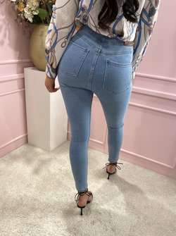 Gold button jeans denim blue
