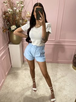 Belted shorts baby blue