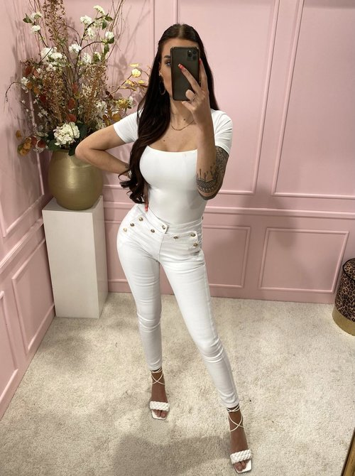 Gold button jeans white