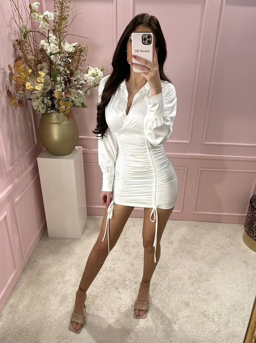 Silky ruched dress white