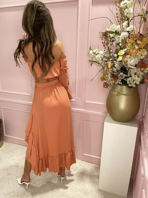 2 piece skirt set dusty coral