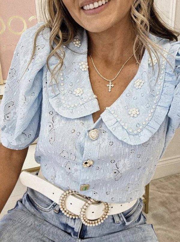 Baby blue pearl blouse