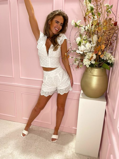 Dotted lace short set white