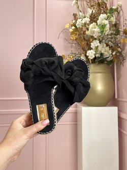 Bow slippers black