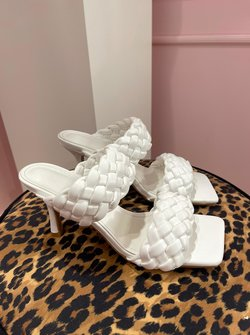 White double braided wedges