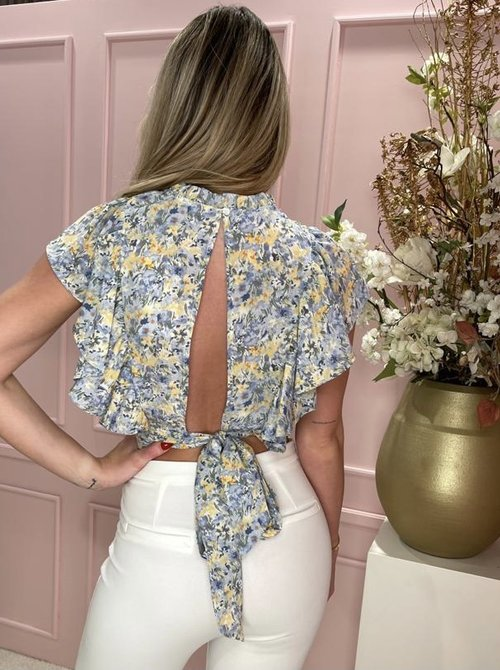 Lucy flower top blue