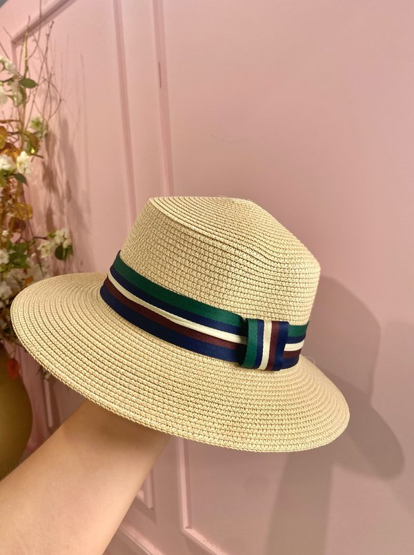 Creme hat with green