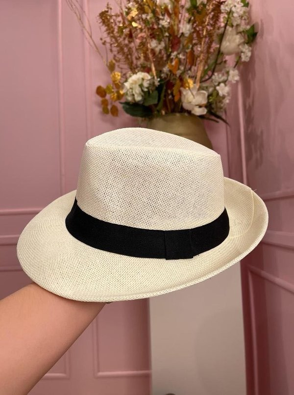 Creme hat with black