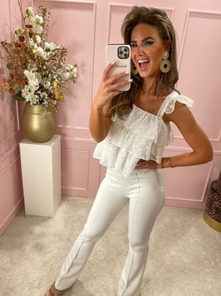 Livia dotted top white