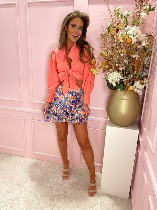 Knot bow blouse coral