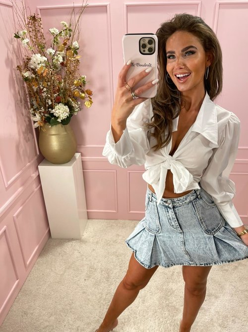 Knot bow blouse white