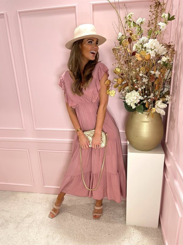 Volant  maxi dusty pink