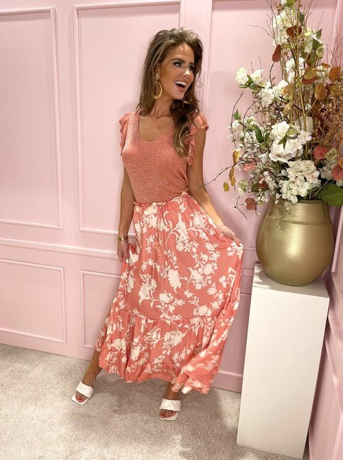 Flower maxi skirt coral