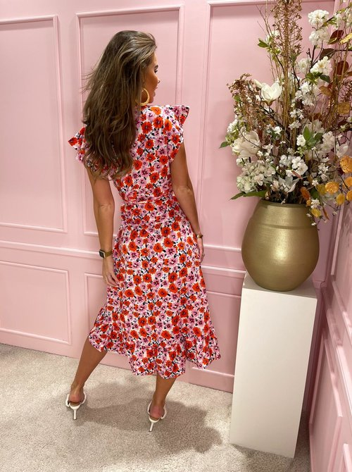Ruffle floral midi pink & red