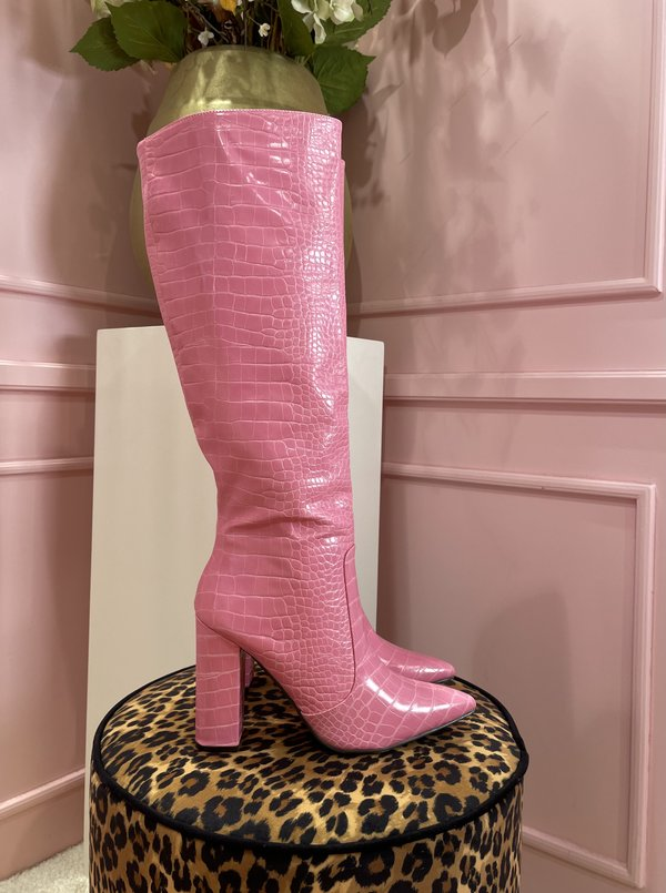 Snakey boots pink