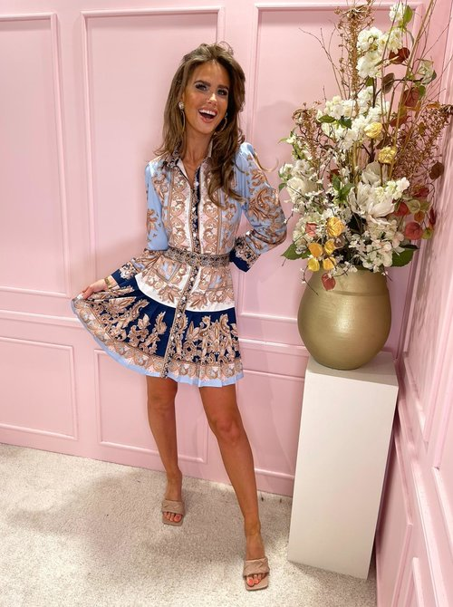 Printed belted dress baby blue
