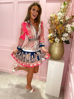 printed belted dress pink