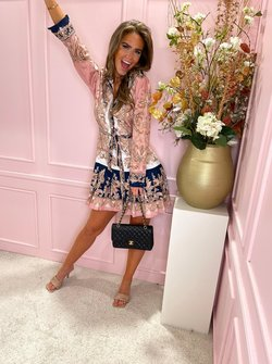 Soft pink printed belted dress