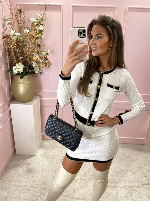 Chanel inspired twin set creme