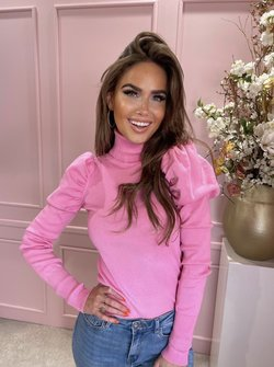 Puffy col top pink