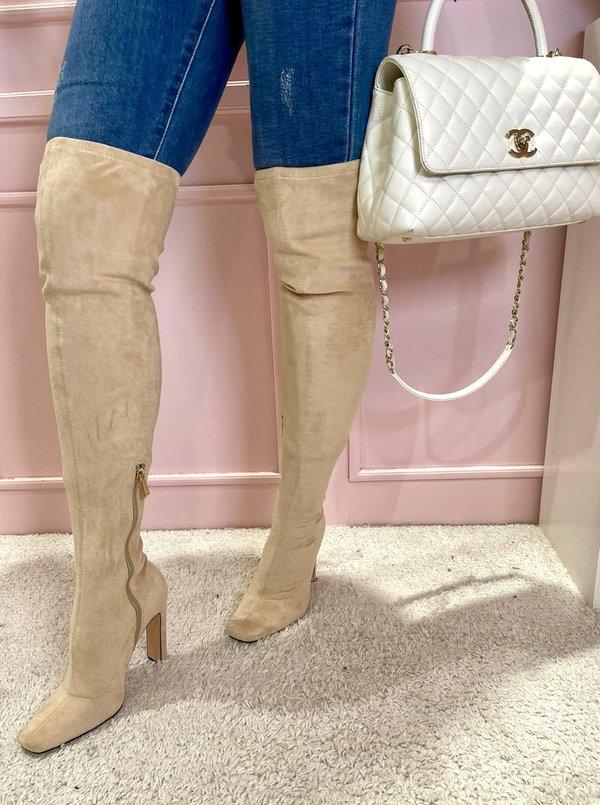Suede Overknee boots beige