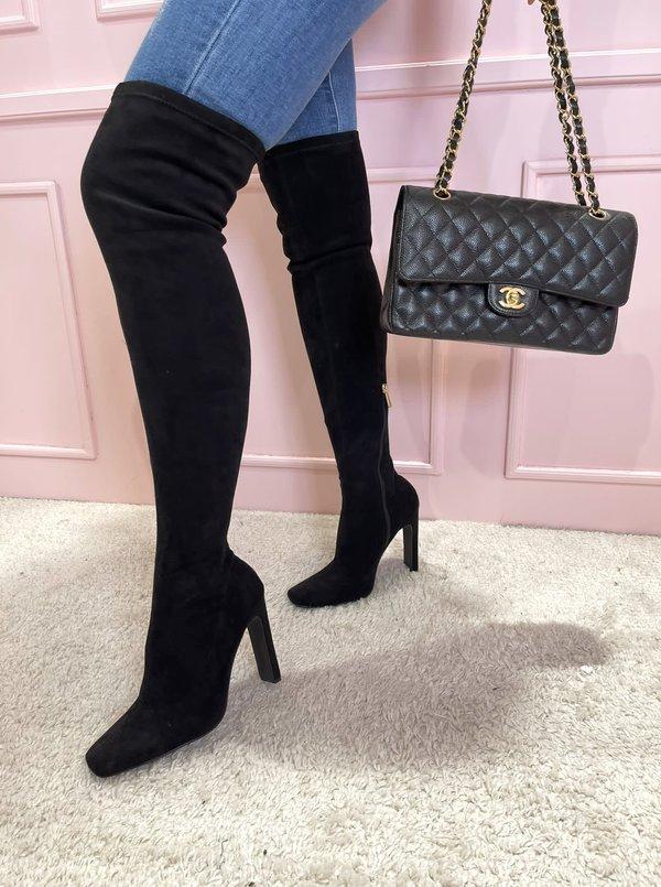 Suede Overknee boots black
