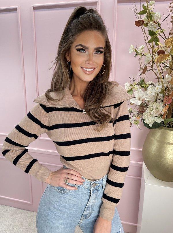 Striped zipper sweater beige