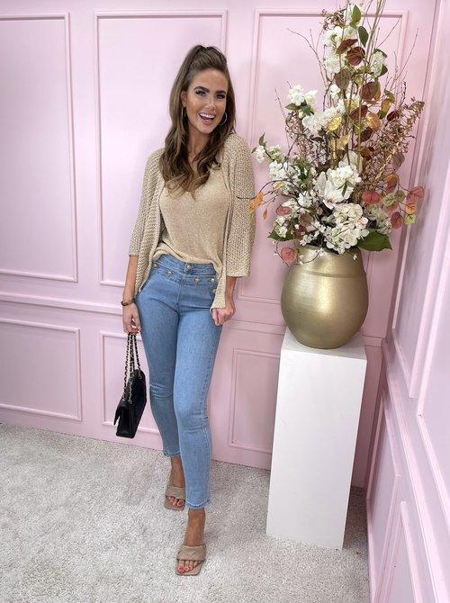 Gold button jeans denim light blue