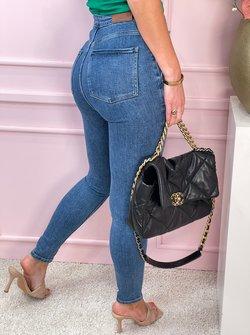 gold button jeans blue